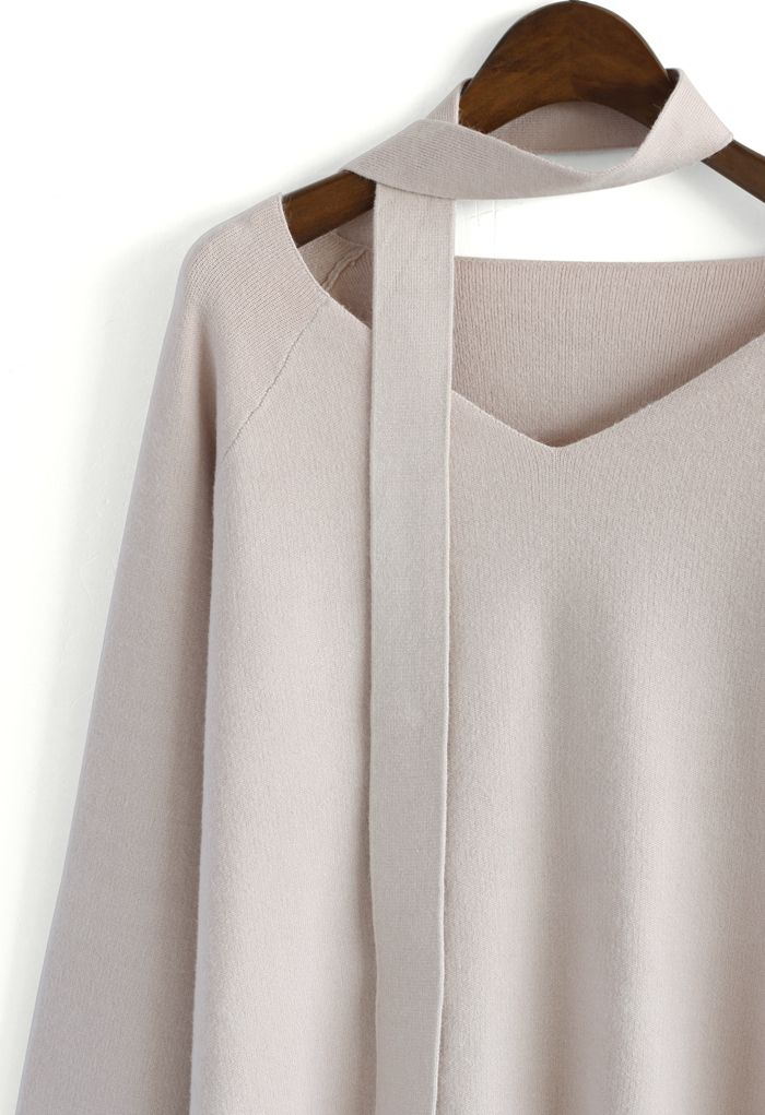 Soft Bell Sleeves V-neck Sweater in Pink