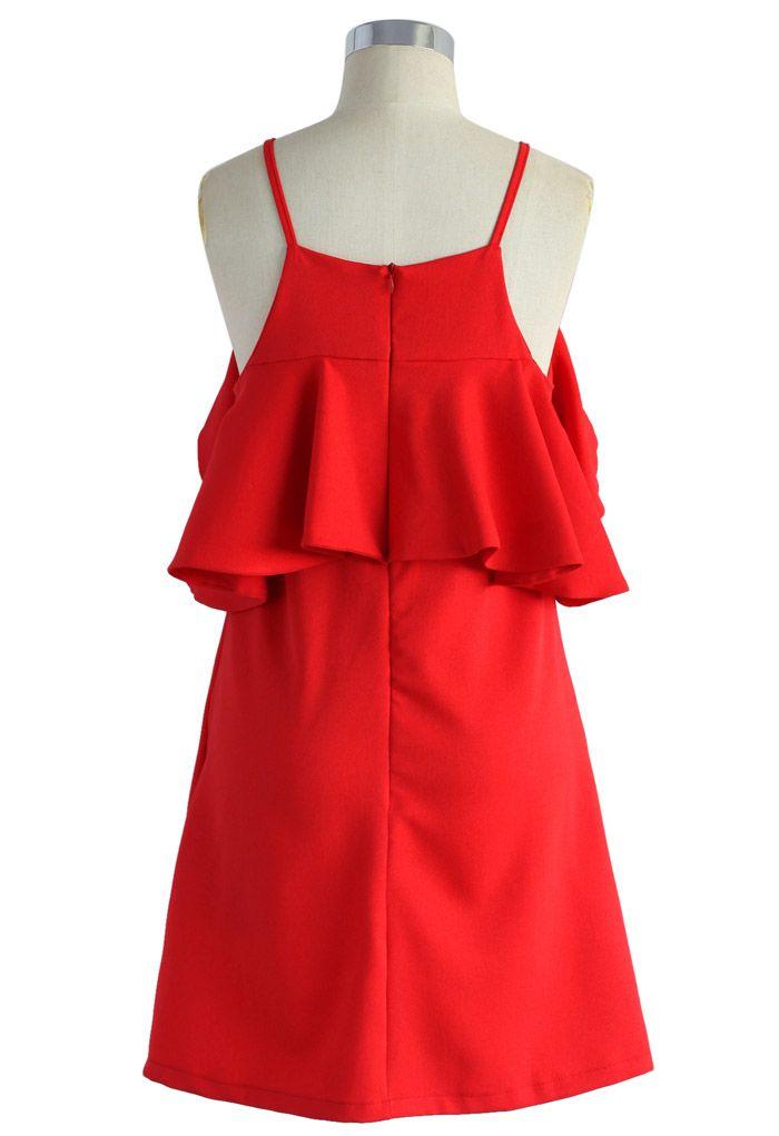 Sylphlike Red Cold-shoulder Dress