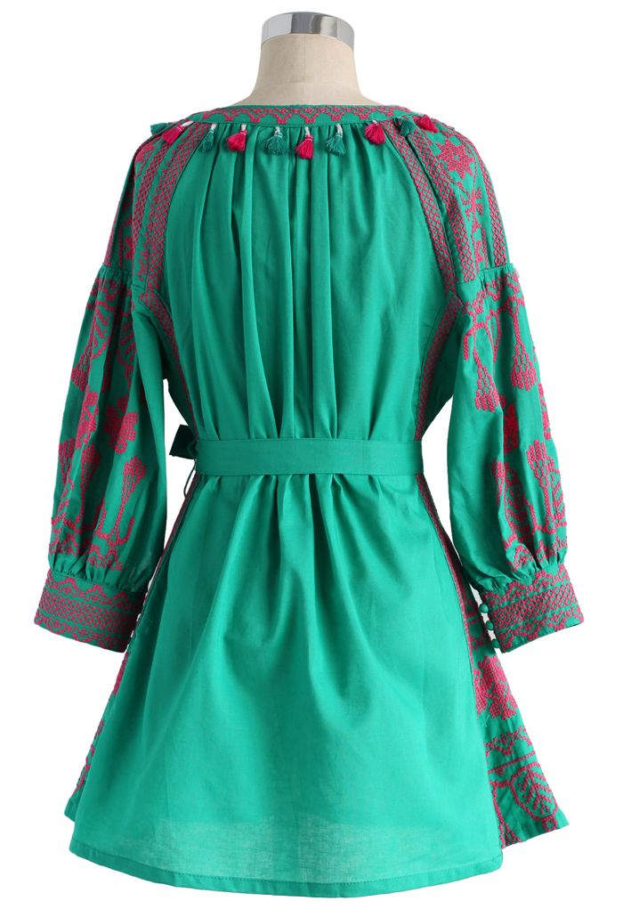 Fascinating Stitch Tunic in Emerald Green