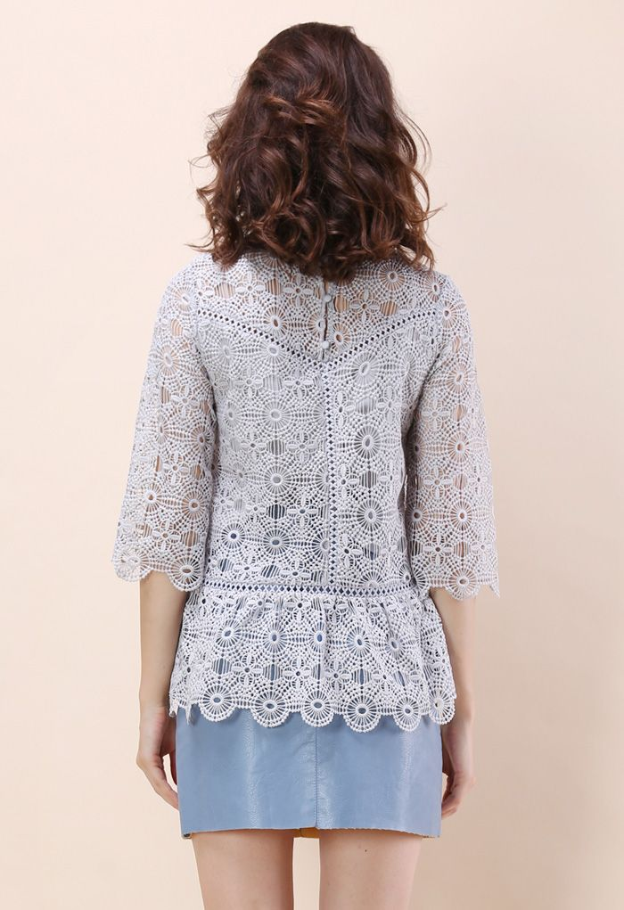 Art of Crochet Top in Grey