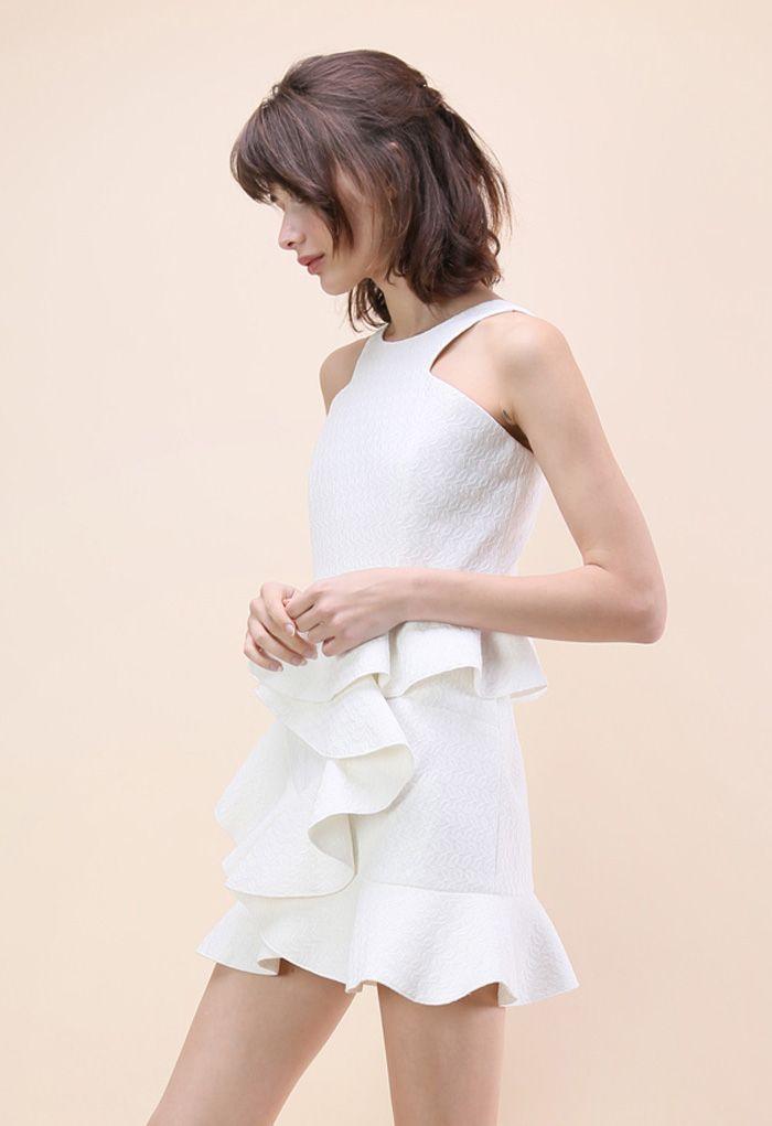 Tiered Pep Ruffle Hem Dress in White