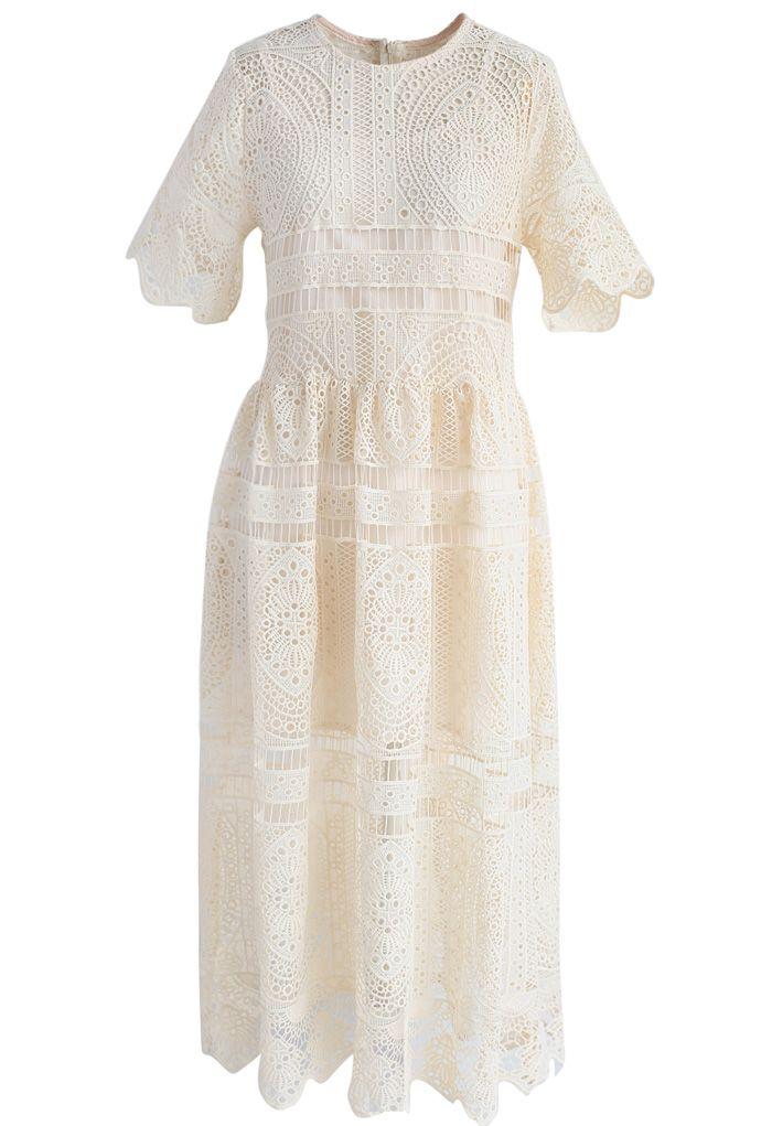 With Your Ingenuity Crochet Dress in Beige