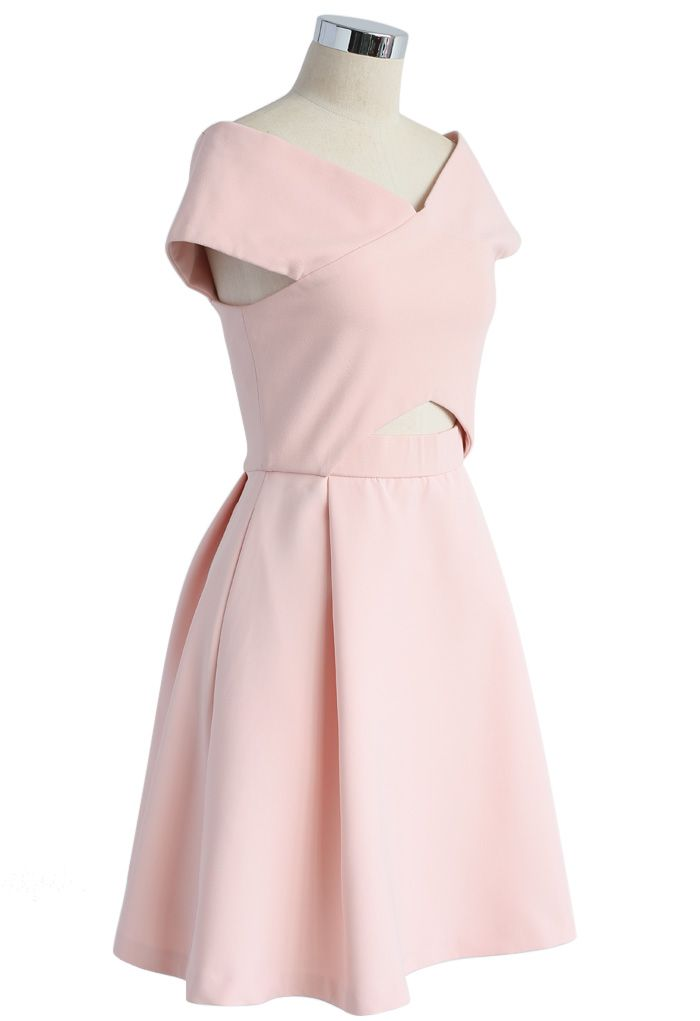 Concise Classy Off-shoulder Dress in Pink