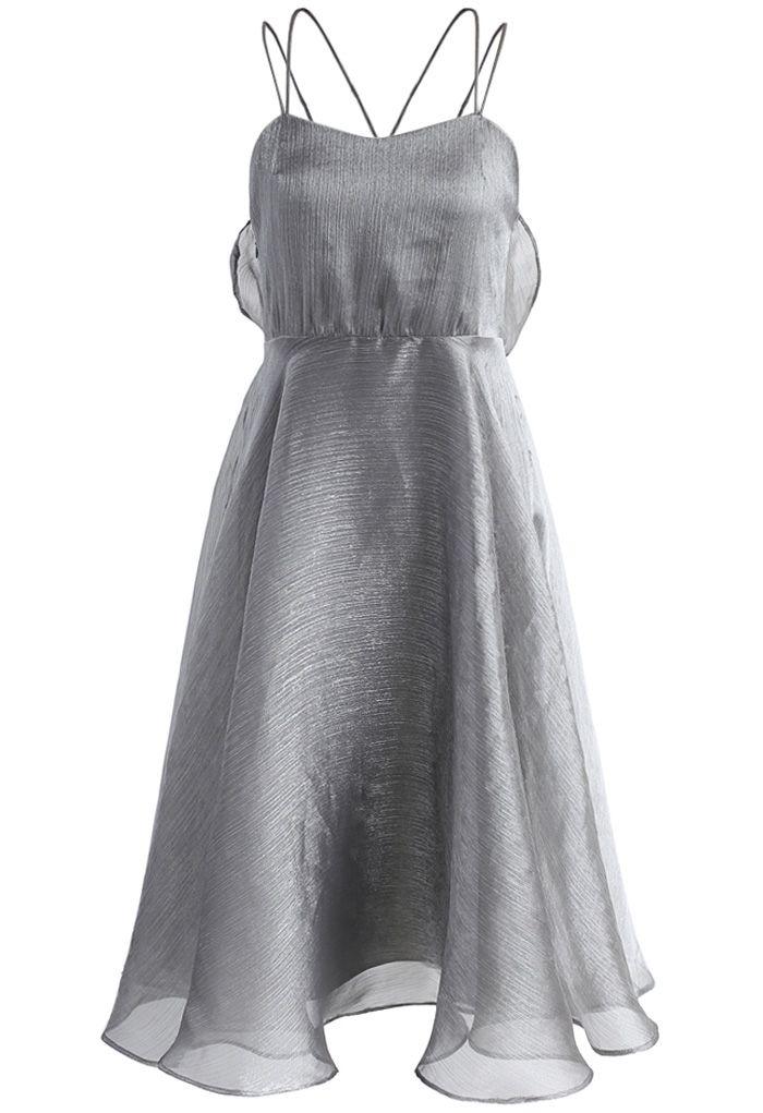 Luxurious Sheen Cross-strap Open Back Dress in Grey