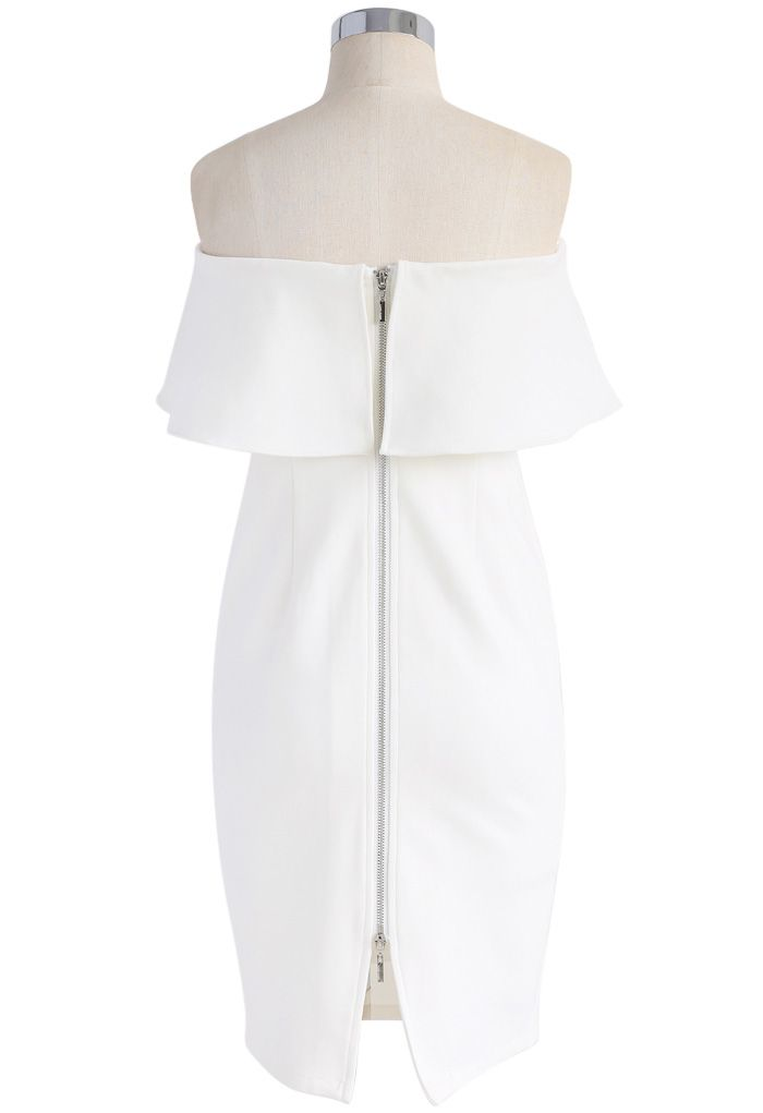 Noble Ruffled Strapless Body-con Dress in White