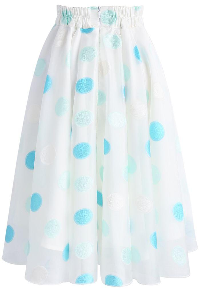 Refreshing Dots Organza A-line Skirt