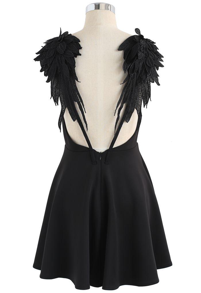 Angel's Wings Cami Dress in Black