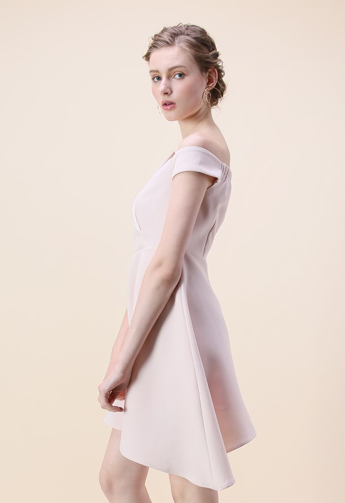 Charming in Asymmetry Off-shoulder Dress in Pink