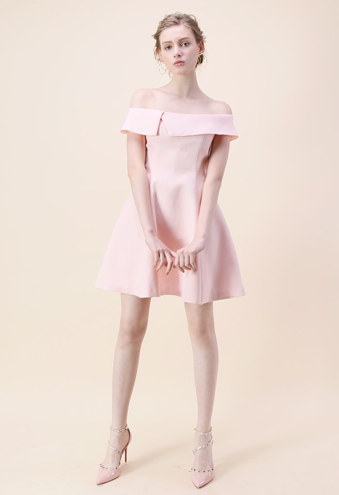 Be There with Grace Off-shoulder Dress in Pink