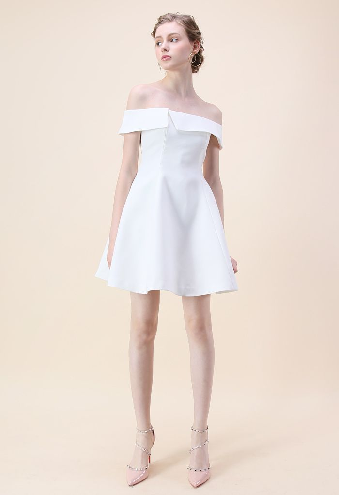 Be There with Grace Off-shoulder Dress in White