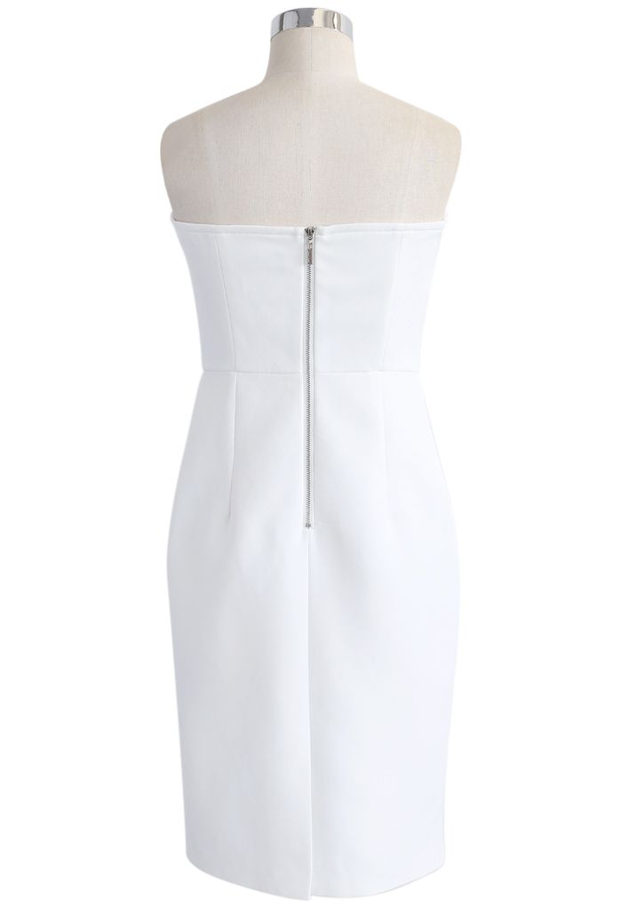 Dignity in Bowknot Strapless Body-con Dress in White