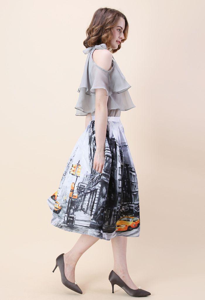 Downtown Impression Printed Midi Skirt