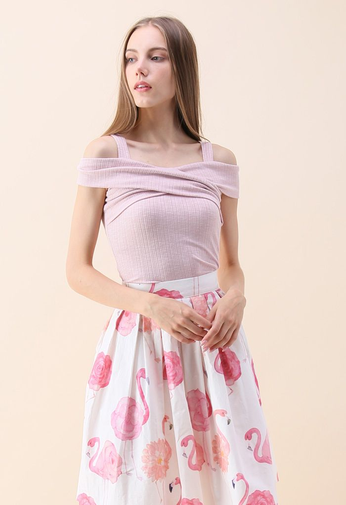 Undeniably Loveliest Cold-shoulder Wrap Top in Pink