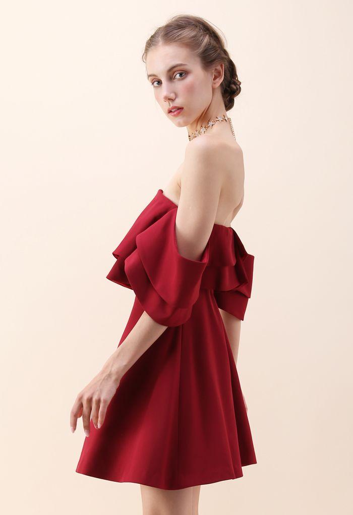 Summer Splendor Off-Shoulder Dress in Wine