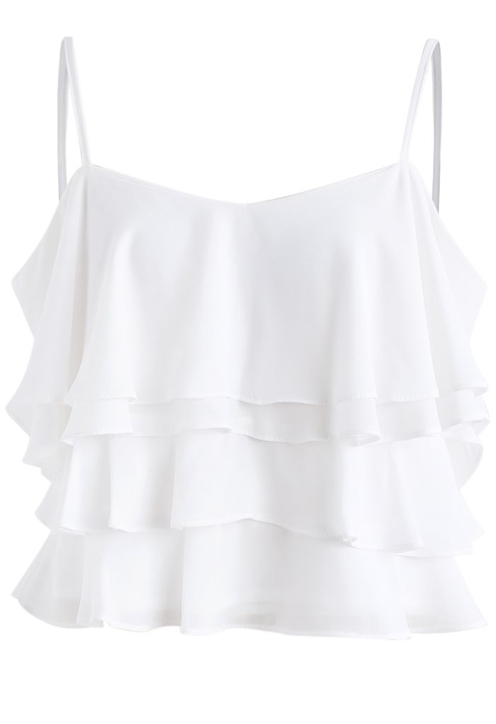 Tiered Animation Chiffon Cold-shoulder Top in White