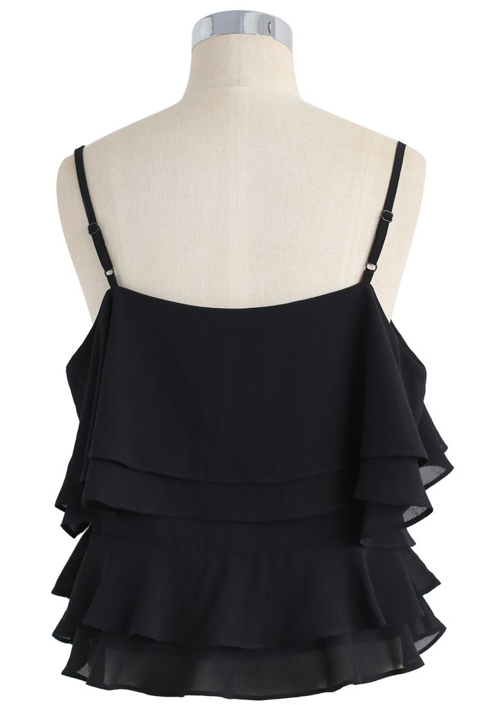 Tiered Animation Chiffon Cold-shoulder Top in Black