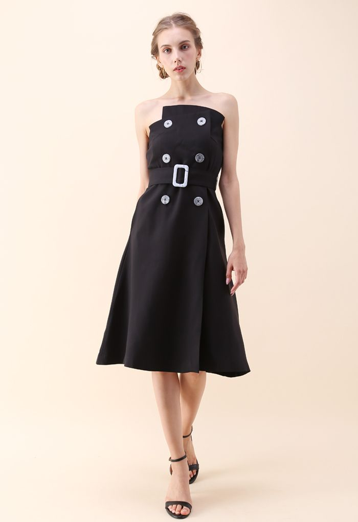 Charming Connection Double Breasted Strapless Dress in Black