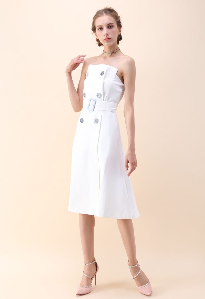 Charming Connection Double Breasted Strapless Dress in White