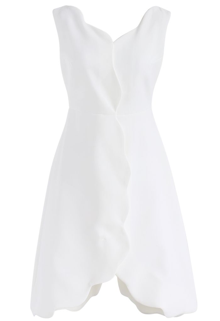Scrolled Enchantment Sleeveless Dress in White