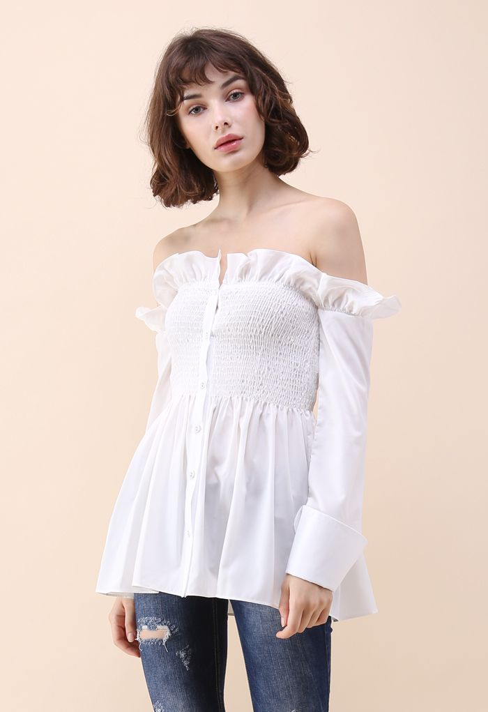 Stylish Sweetheart Ruffle Off-shoulder Top in White