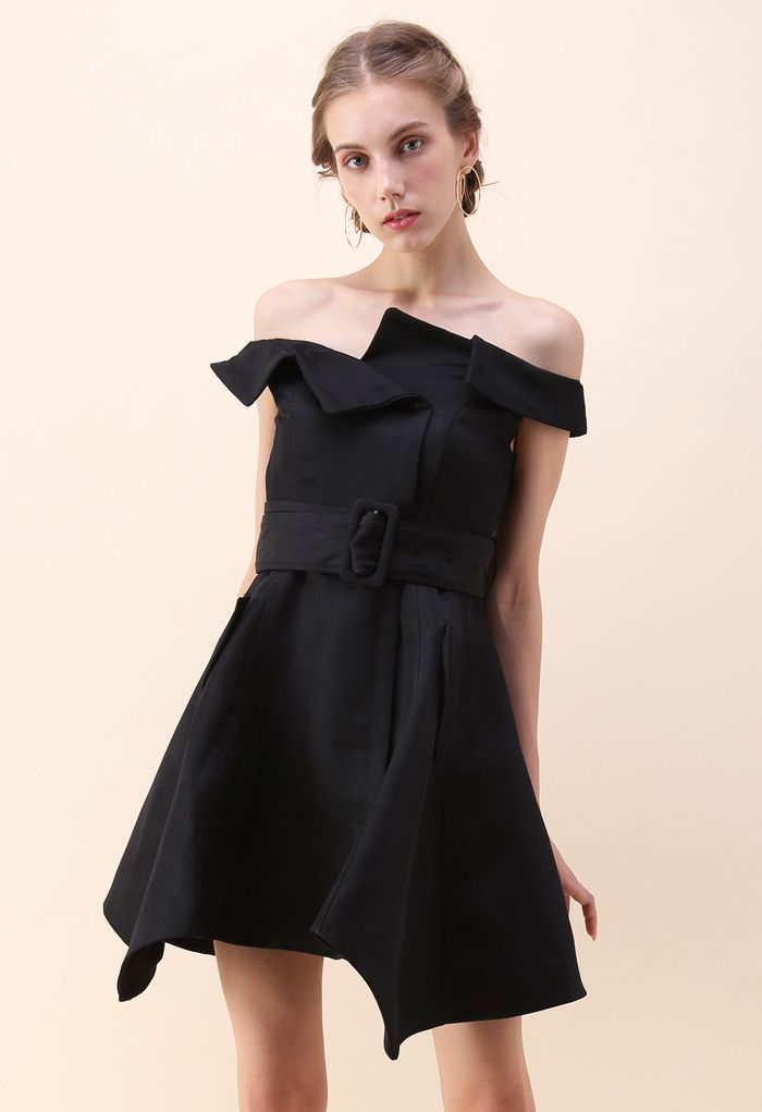 Asymmetric Beauty Off-Shoulder Dress in Black