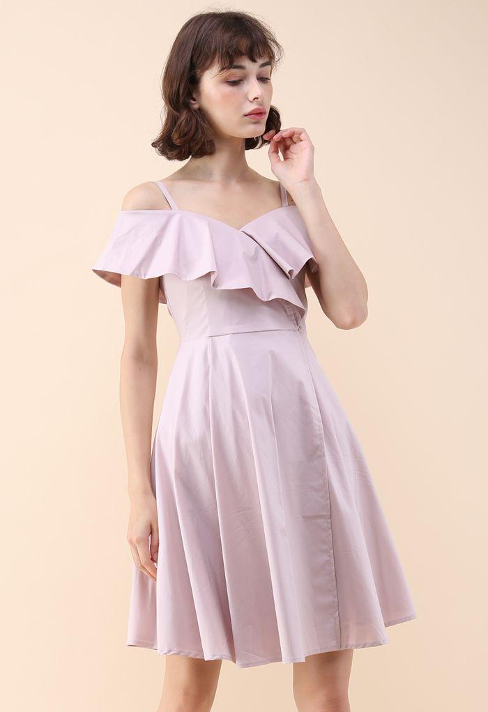 Appealing Sweet Frilling Cold-Shoulder Flap Dress in Pink