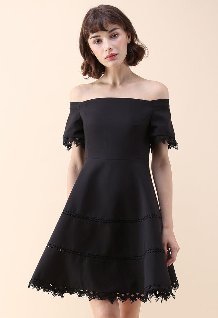 Grace Around You Off-Shoulder Dress in Black