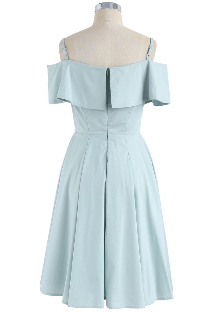 Appealing Sweet Frilling Cold-Shoulder Flap Dress in Mint