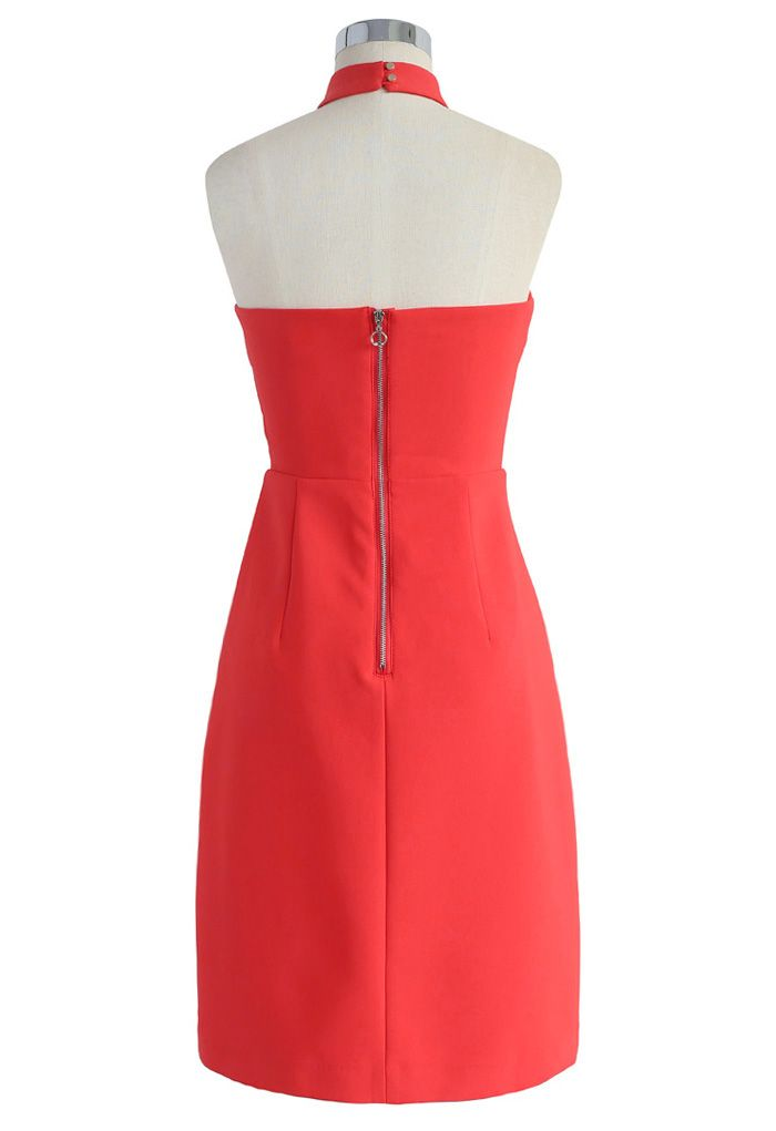 Latest Infatuation Halter Neck Dress in Red