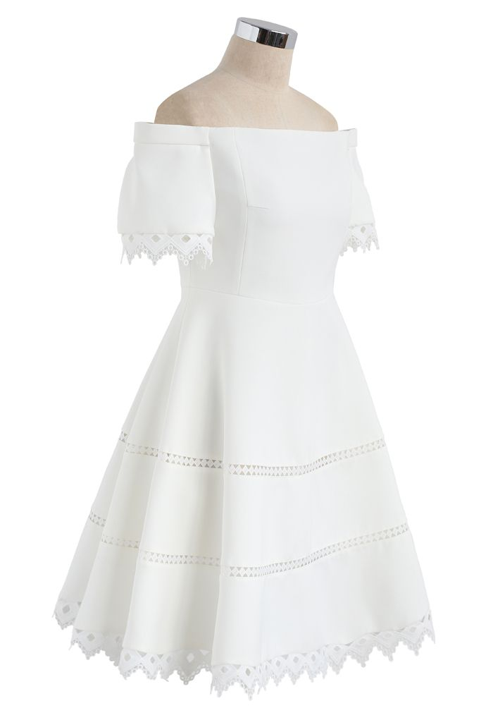 Grace Around You Off-Shoulder Dress in White