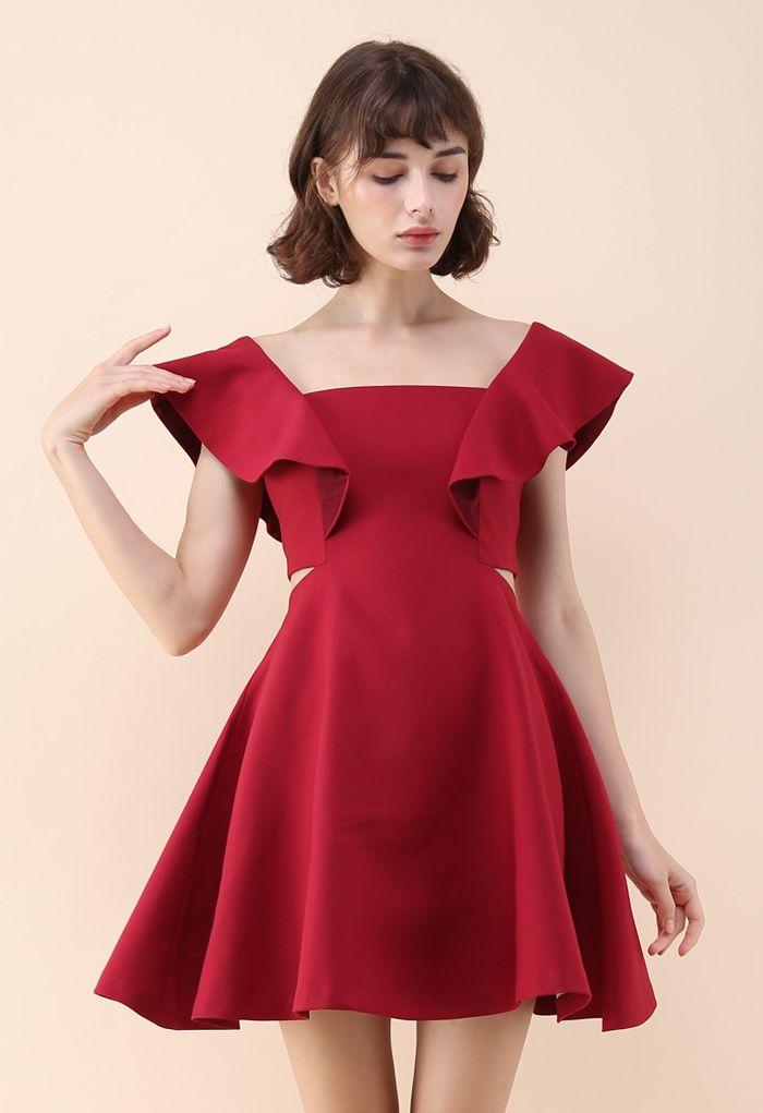 Dance with Sweet Ruffled Dress in Wine