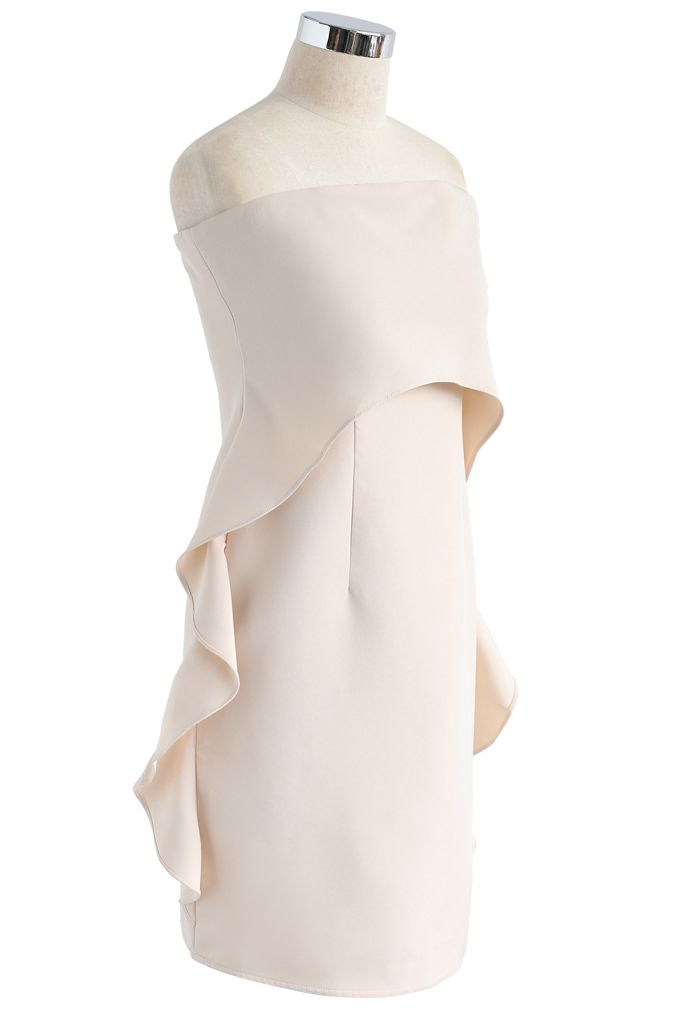 Simplified Elegance Ruffle Strapless Dress in Cream