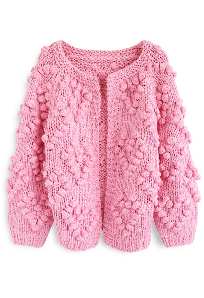 Knit Your Love Cardigan in Hot Pink