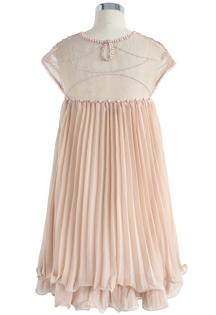 Beads Embellished Pleated Dolly Dress in Nude Pink