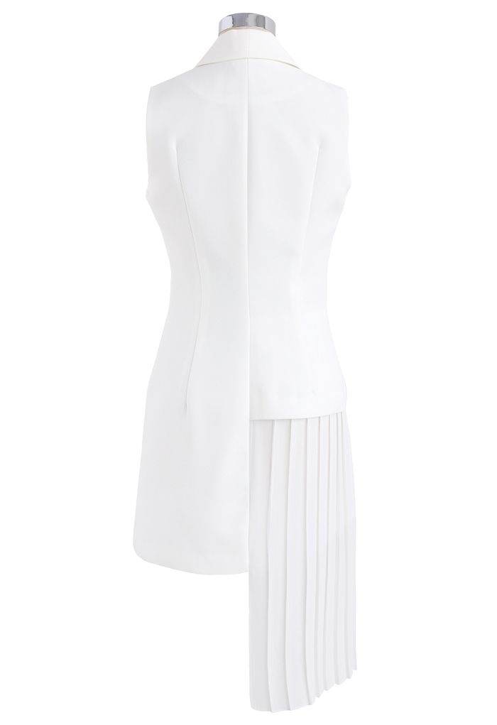 Seeds of Charm Asymmetric Coat Dress in White