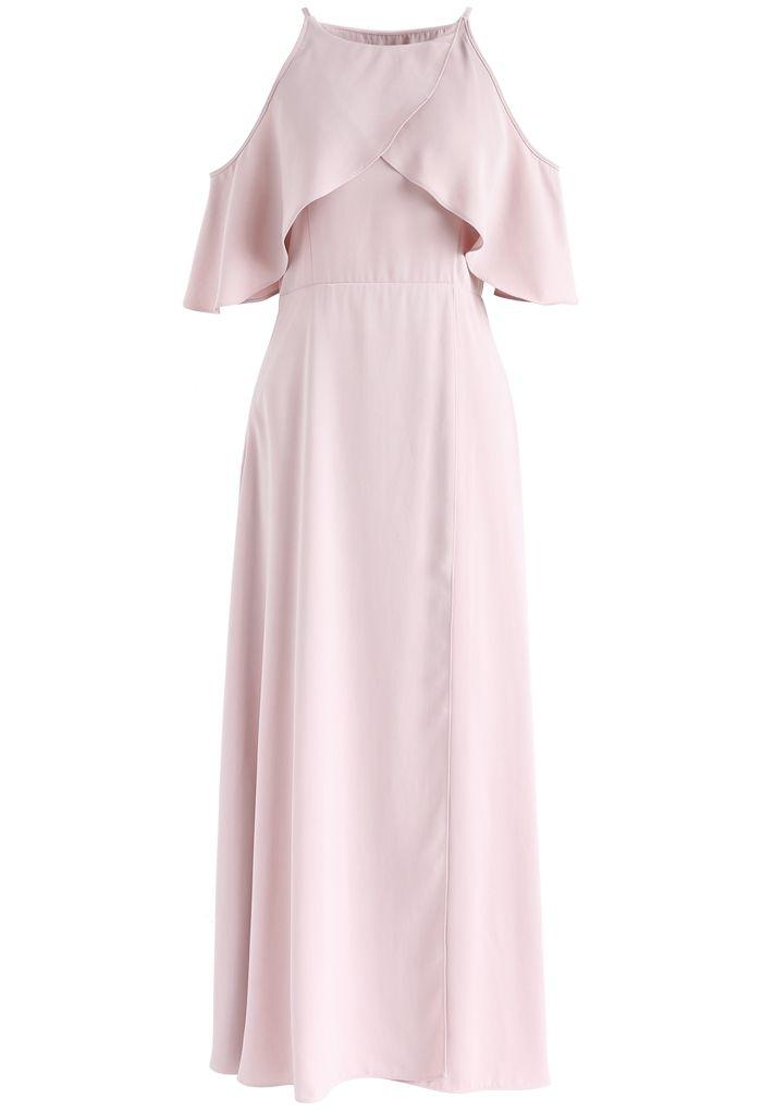 Sylphlike Pink Cold-Shoulder Maxi Dress