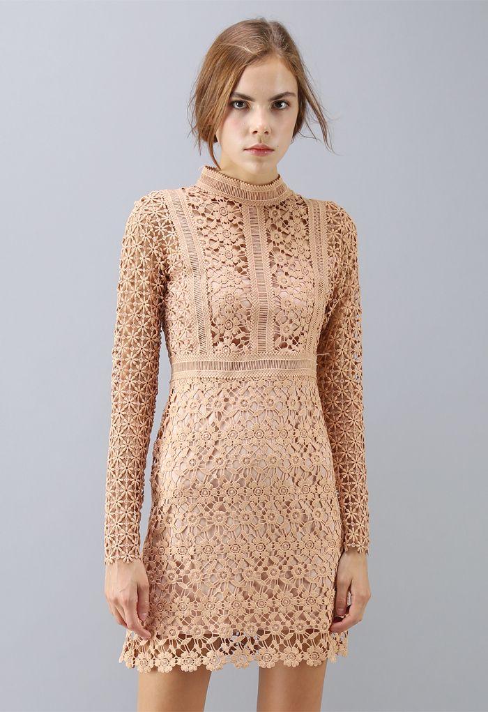 Ladylike Floral Crochet Panelled Shift Dress in Tan