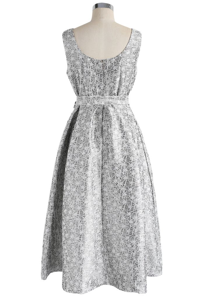 Shimmer Point Jacquard Prom Dress in Silver