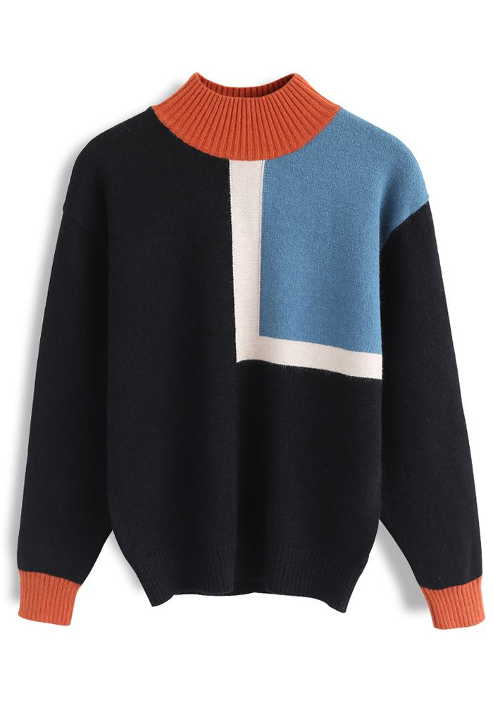 Back to 80s Color Block Turtleneck Sweater