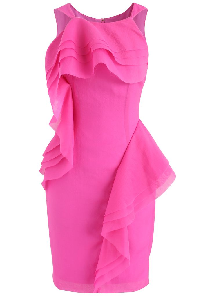 Stylish Winner Tiered Ruffle Sleeveless Dress in Hot Pink