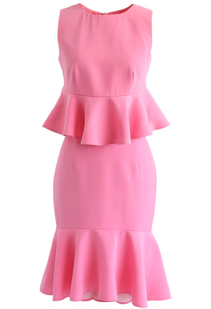 Frill Hem Sleeveless Cropped Top and Bud Skirt Set in Hot Pink