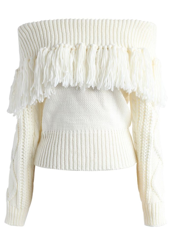 Joyful Tassels Off-Shoulder Knit Sweater in White