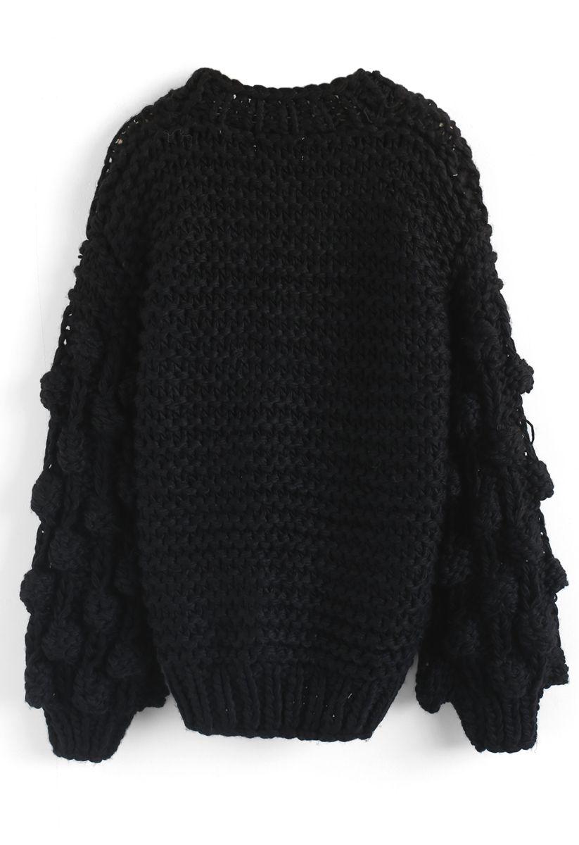 Cuteness on Sleeves Chunky Cardigan in Black