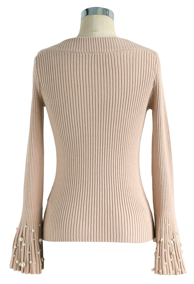 Oh My Pearls Ribbed Bell Sleeves Sweater in Peach