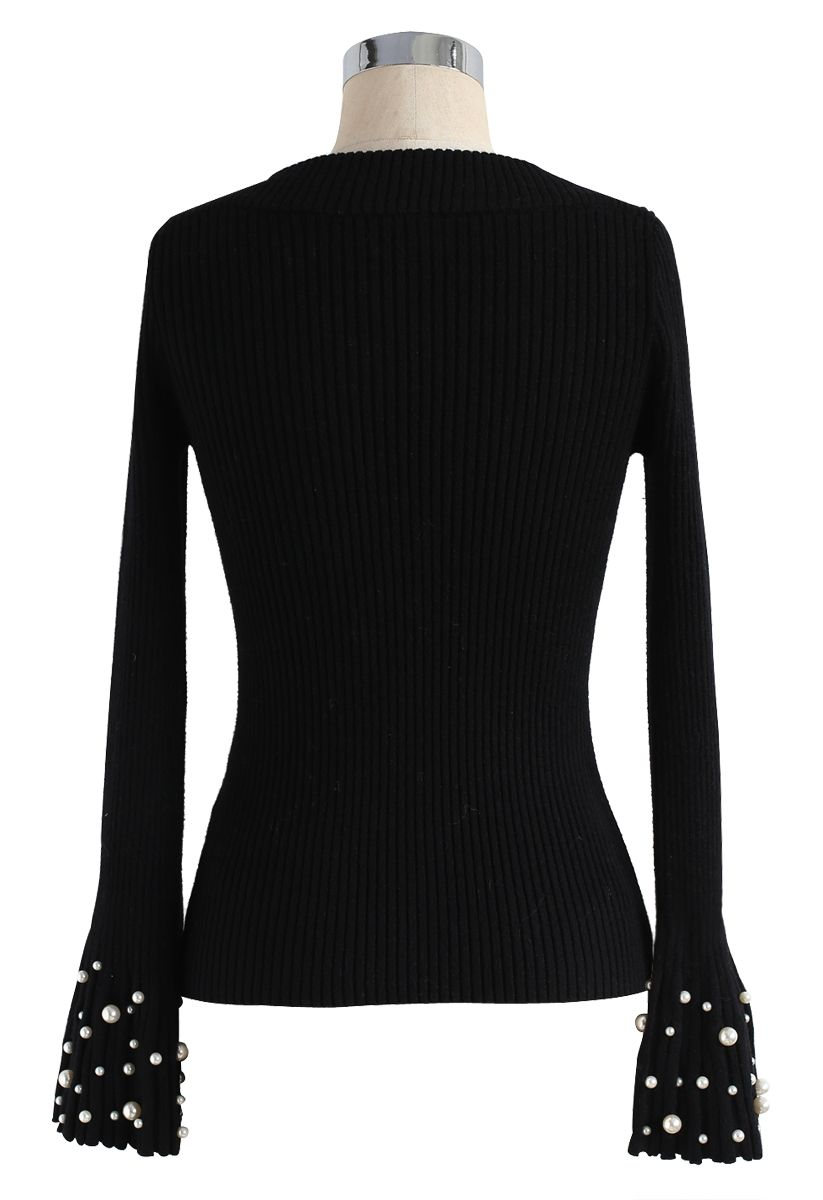 Oh My Pearls Ribbed Bell Sleeves Sweater in Black