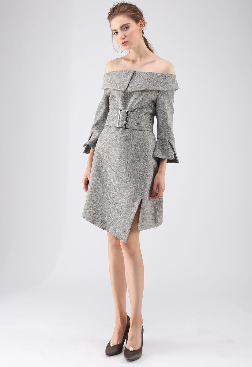 Special Attraction Off-Shoulder Dress in Grey