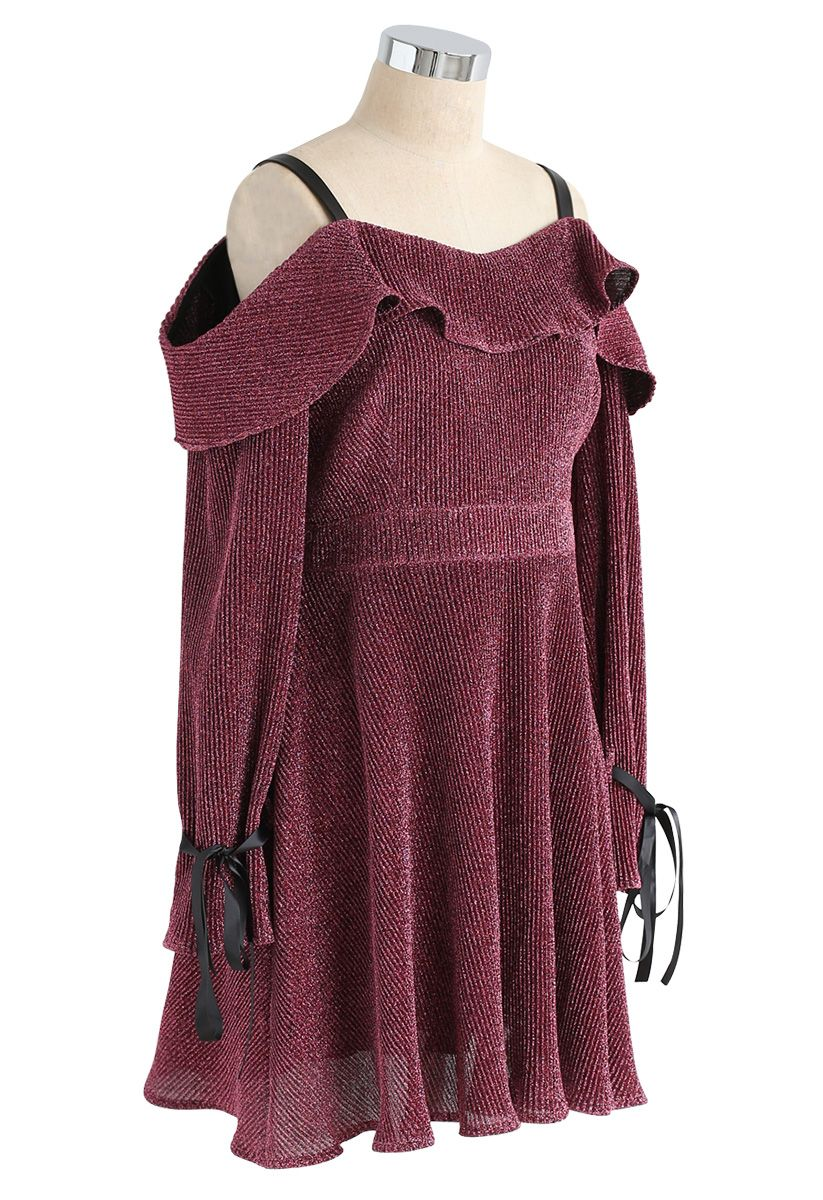Glittering Night Cold-Shoulder Dress in Mauve