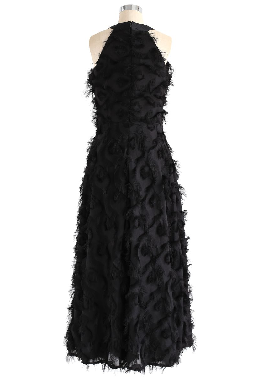 Dancing Feathers Tassel Halter Neck Maxi Dress in Black