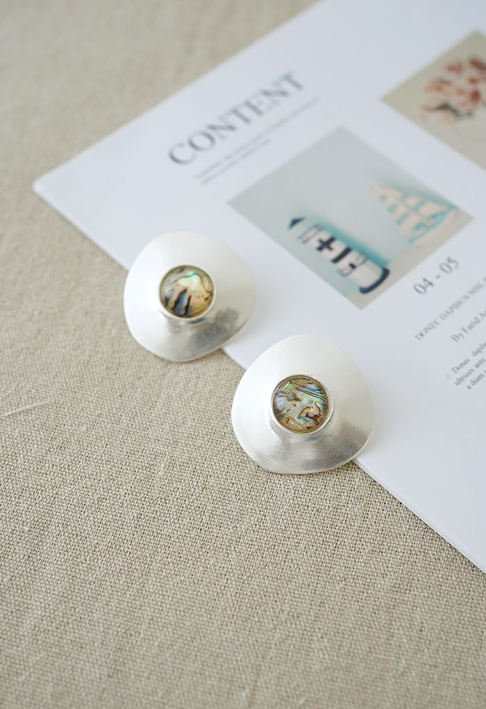 Marble Decorated Silver Earrings