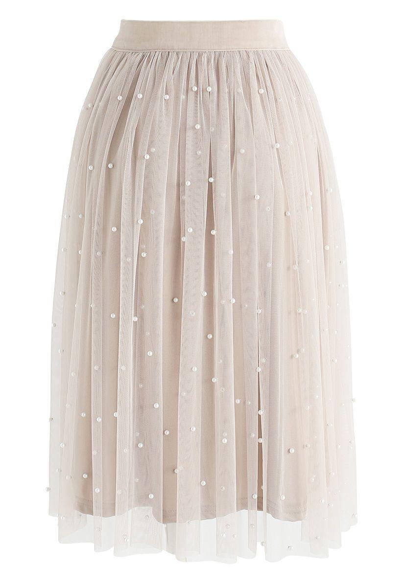Surely Sweet Pearls Mesh Skirt in Cream